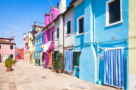 Pitoresque painted houses in Burano Isle, Venice, Italy Stock Photo
