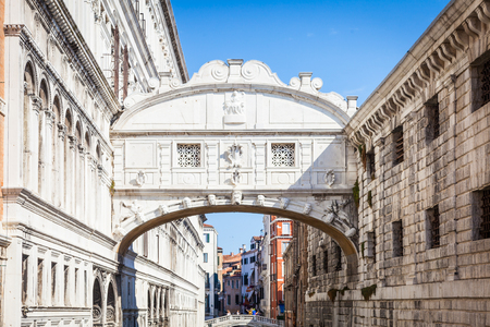 Venices famous Bridge of Sighs was designed by Antonio Contino and was built at the beginning of the seventeenth century Stock Photo