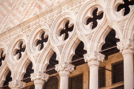 Piazza San Marco, Venice, Italy. Details in perspective on old palace facades. Stock Photo