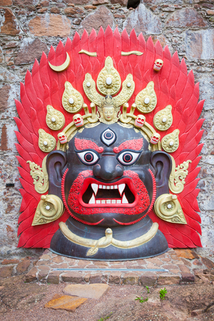 Bhairab Naach (Bhairavas Dance) is an ancient masked dance performed by Newar community in the Kathmandu Valley of Nepal as part of the Indra Jatra festival. This mask is used during the dance.