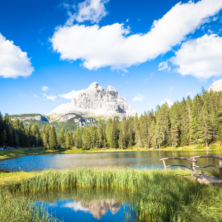 The famous UNESCO site, Tre Cime di Lavaredo in Italy, from the base of the mountains. Stock Photo