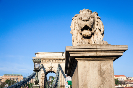 building a chain: Iconic symbol of Budapest - the statue of the lion at the beginning of the famous Chain Bridge