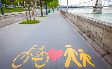 Bicycle signs painted on a dedicated street in  Bucarest, Hungary Editorial