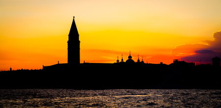 Wonderful sunset with clean sky for copyspace in Venice, Italy