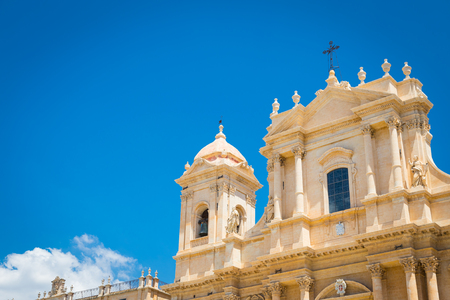 The most important baroque cathedral of Sicily, San Nicolò, sunny day