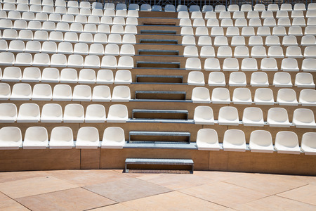 Open air theater with natural daylight; plastic seat rows Standard-Bild - 90623825