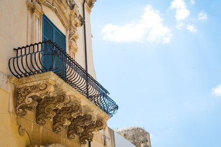 Noto town in Sicily, the Baroque Wonder   Detail of Palazzo Nicolaci balcony, the maximum expression of the Sicilian Baroque style.