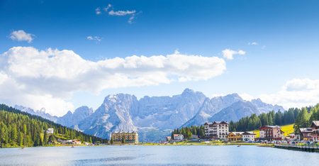 Misurina Lake in Dolomiti Region, North East of Italy, during a wonderful sunny day in summer