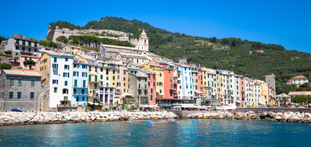 Wonderful postcard of Porto Venere during a sunny day in summer, Italy Stock Photo
