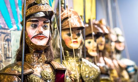 Original Pupo Siciliano (Sicilian puppets, Italy). The Sicilian puppets theatre is Heritage. Foto de archivo
