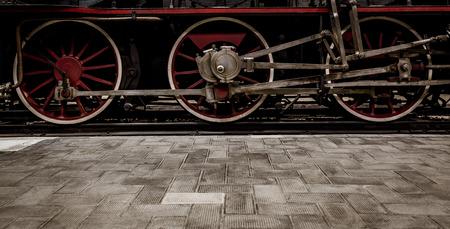 Italian steam locomotive detail, bult by the Costruzioni Elettro Meccaniche di Saronno, 1883. It was withdrawn from service in 1952, when electric engines were introduced.
