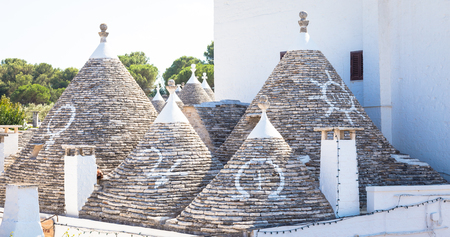 Alberobello, Puglia Region, South of Italy. Traditional roofs of the Trulli, original and old houses of this region.