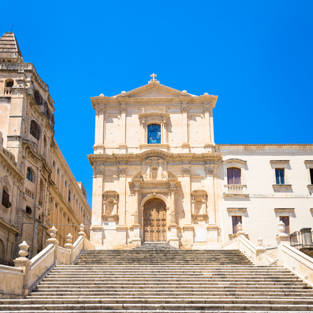 San Francesco is one of many new churches built after the city of Noto was virtually destroyed by the earthquake of 1693. Baroque style 写真素材