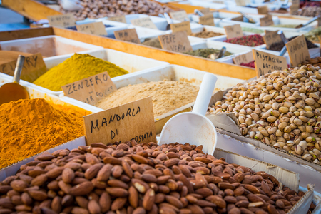 Syracuse, Sicily, Italy. Detail of the traditional local pistachios and almonds market. Stock Photo