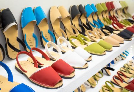 MENORCA, SPAIN - June 29, 2018: traditional Menorca sandals (named Avarca) in exposition Editorial