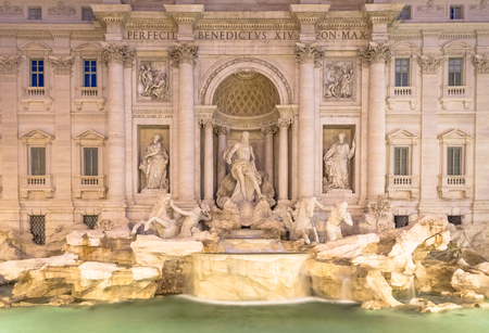 Trevi fountain at night, the masterpiece of Italian classical baroque architecture. Rome, Italy. Archivio Fotografico