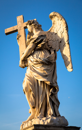 Rome, statue of an angel on the bridge in front of Castel SantAngelo. Conceptual useful for spirituality, christianity and faith.