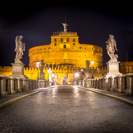 Nobody during night on the bridge in front of Sant'Angelo Castle in Rome