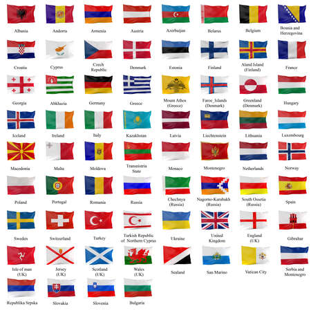 serbia and montenegro: 3d rendering of all the european flags Stock Photo