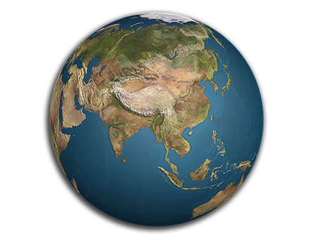 globe earth: 3D render of view of Asia on globe earth Stock Photo