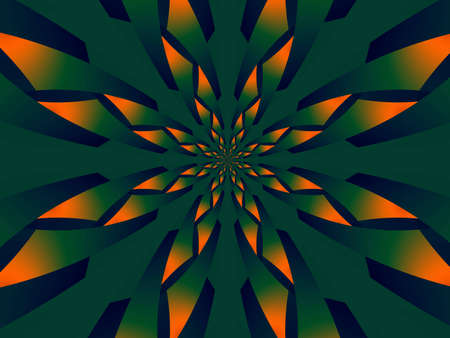 Abstract green and orange flower made of many flakes Stock Photo - 1719188