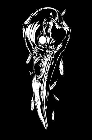 tatouage ange: Illustration du crâne de corbeau