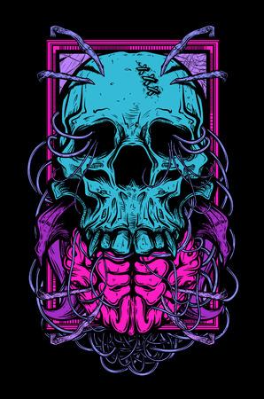 Vector illustratie van de schedel tattoo