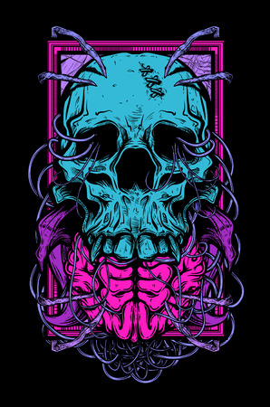 fear illustration: Vector illustration of skull tattoo