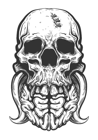 Vector illustration of skull tattoo