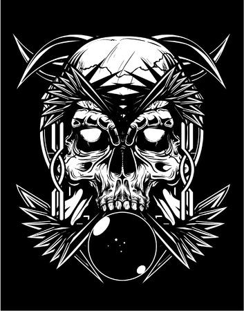 demonio: Ilustración del vector del tatuaje del cráneo Vectores