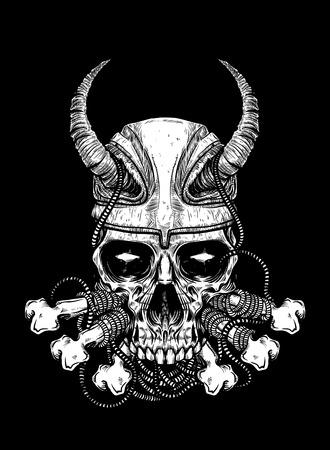damnation: Vector illustration of skull tattoo