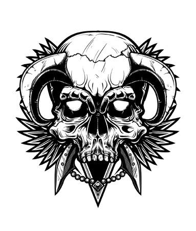 demon: Ilustraci�n del vector del tatuaje del cr�neo Vectores