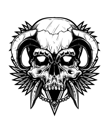 demons: Vector illustration of skull tattoo