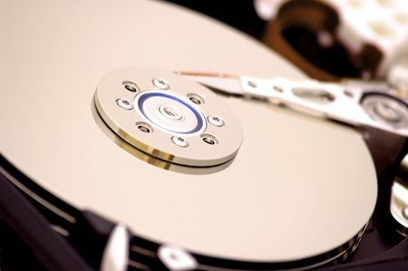 Hard disk close-up photo