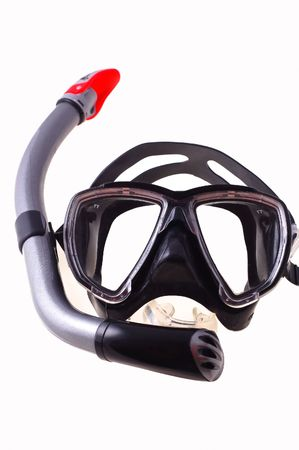 Snorkel and  mask isolated on white background Standard-Bild