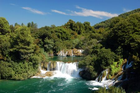Waterfall Krka in Croatia 免版税图像