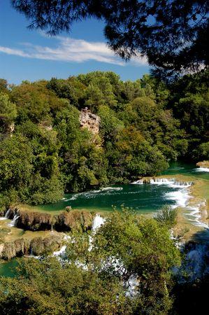 Waterfall Krka in Croatia 免版税图像