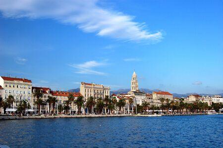 Briefkaart van Split in Kroatië Stockfoto