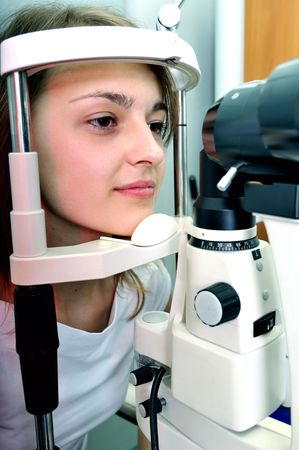 Patient at the eye testing