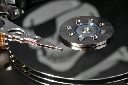 piracy: Hard drive and word of piracy, concept of illegal copy