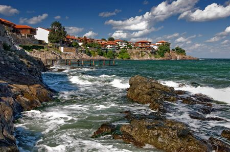 Sozopol coastline at Black Sea in Bulgaria 免版税图像