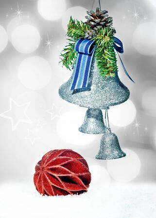 Christmas decoration on starlight bokeh background photo