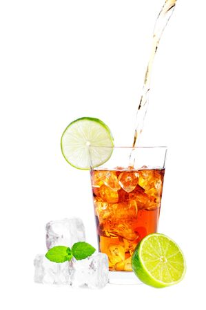 icecube: Cold glass of iced tea with ice cubes, fresh mint and lime isolated on white background