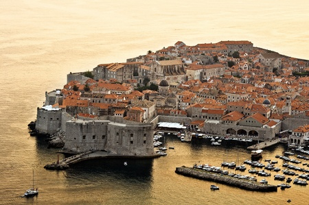 sunset in Dubrovnik, view of an old city, Croatia photo