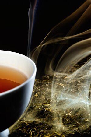 herbal tea: smoked tea and hot tea cup