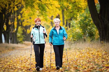 Mother and daughter train nordic walking Standard-Bild