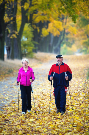 senior couple making nordic walking in the park photo