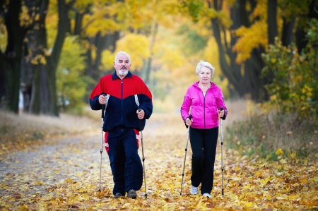 nordic walking: senior couple making nordic walking in the park