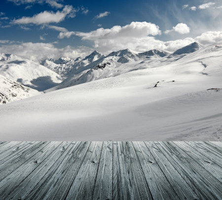 winter landscape with wood floor