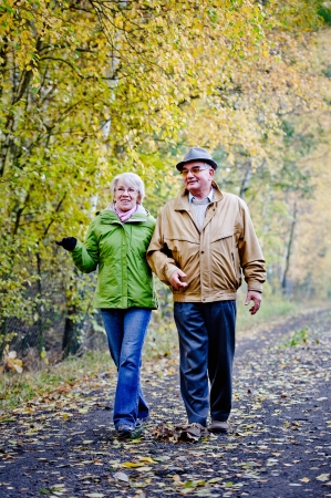 Senior paar wandelen in het park
